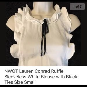 NWOT LAUREN CONRAD BLOUSE WHITE & BLACK SIZE SMALL